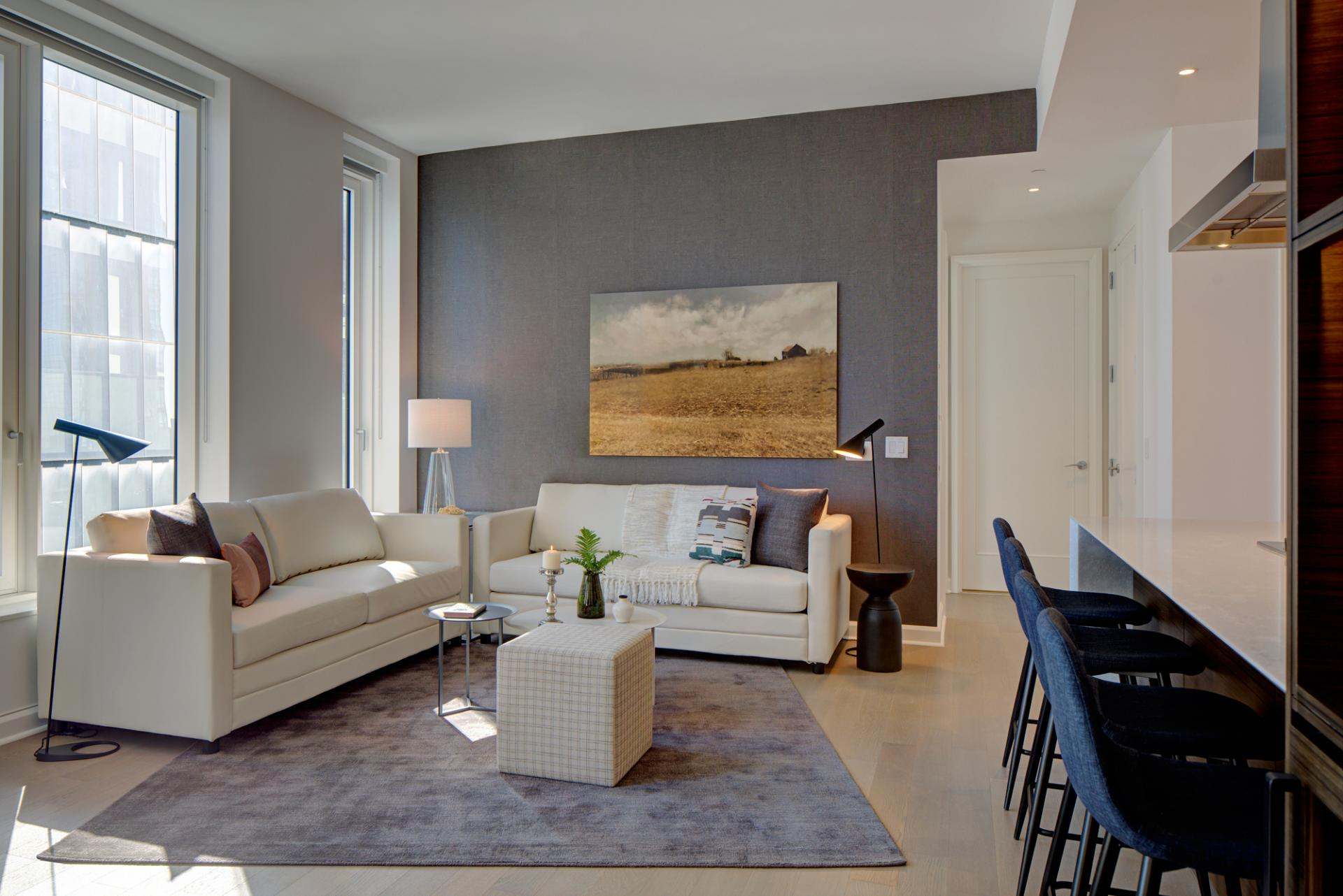 Open-plan living area at One Hudson Yards Apartments - Citybase Apartments