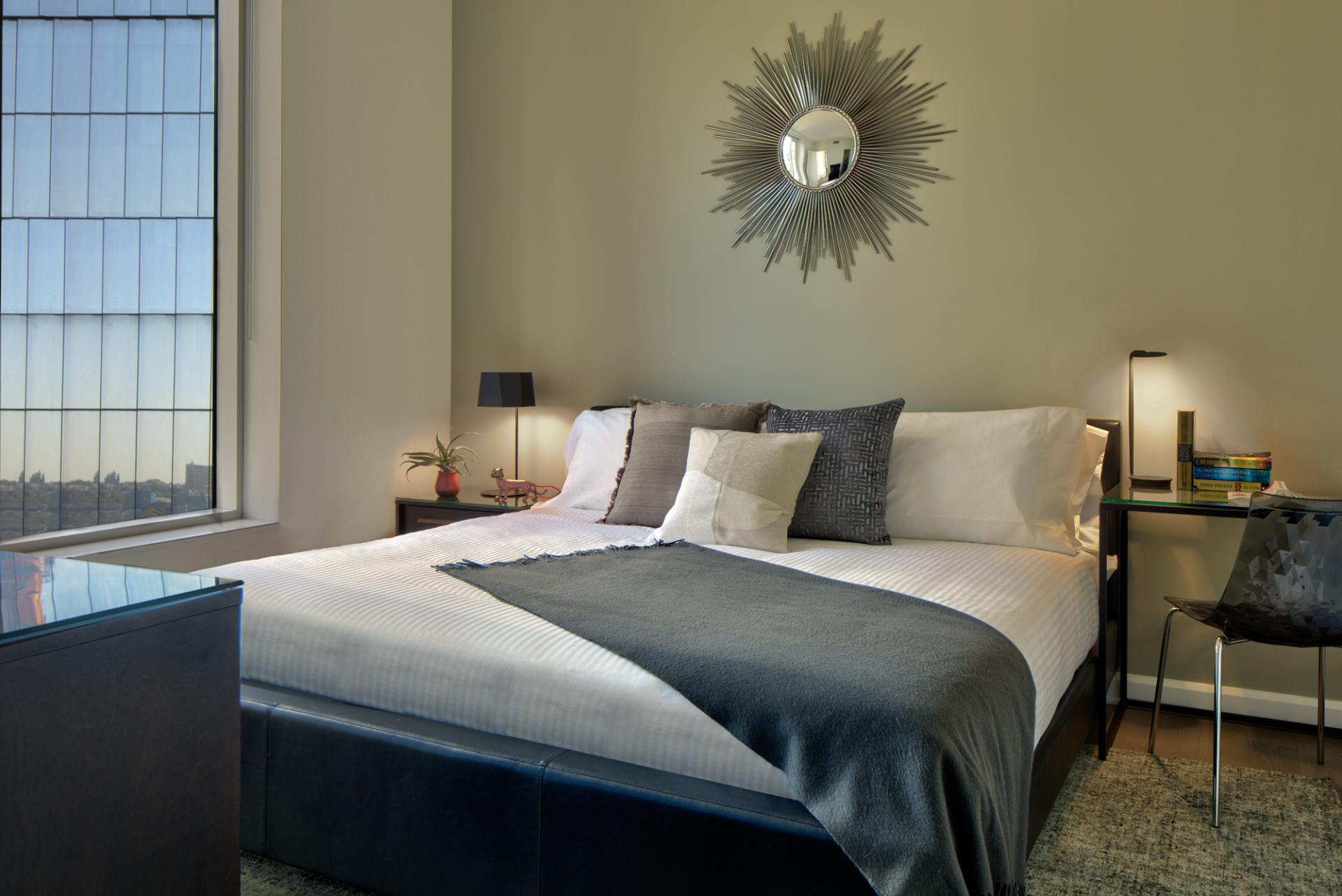 King size bed at One Hudson Yards Apartments - Citybase Apartments
