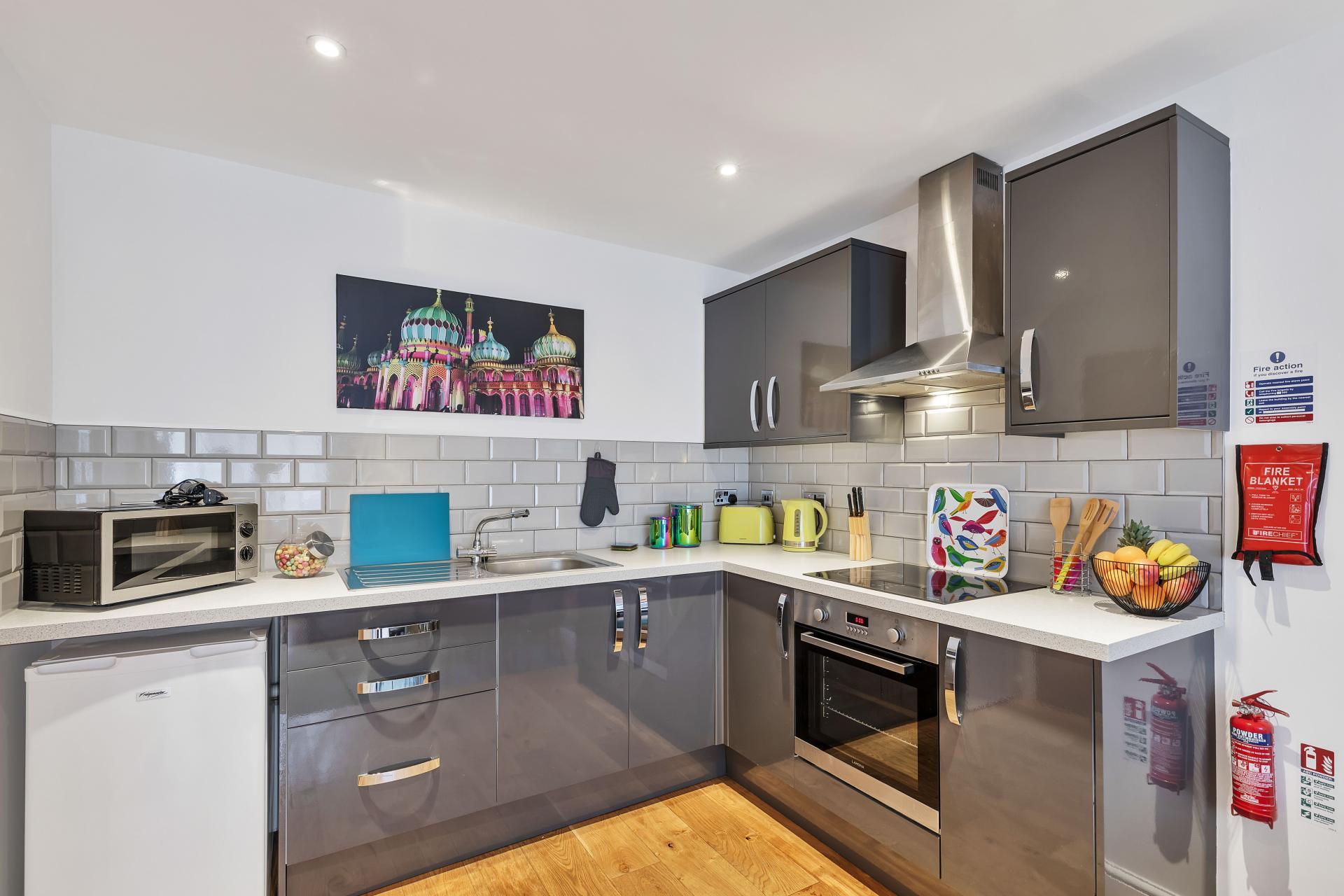 Kitchen at Rainbow Studio Apartment - Citybase Apartments