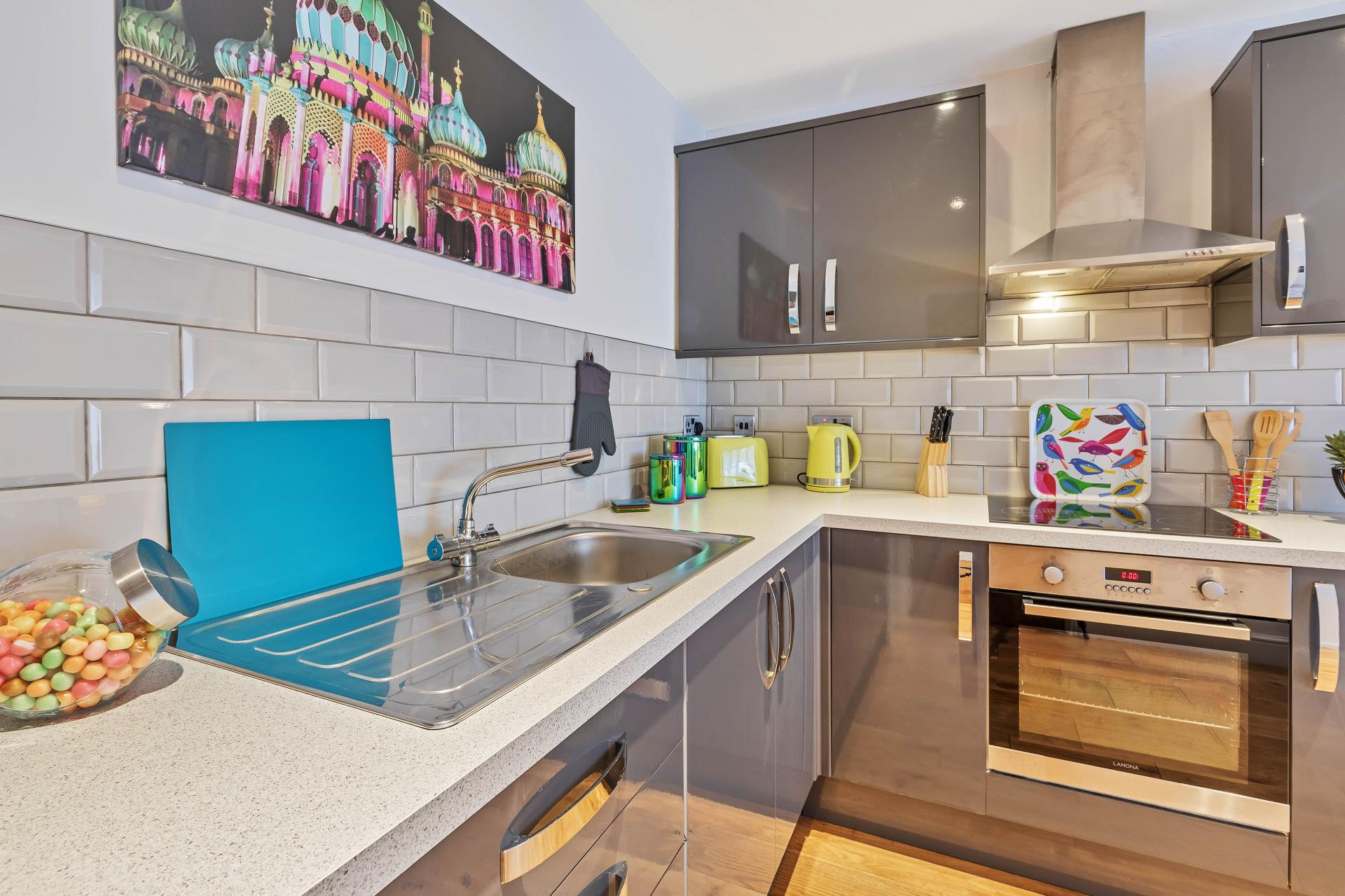 Fully equipped kitchen at Rainbow Studio Apartment - Citybase Apartments