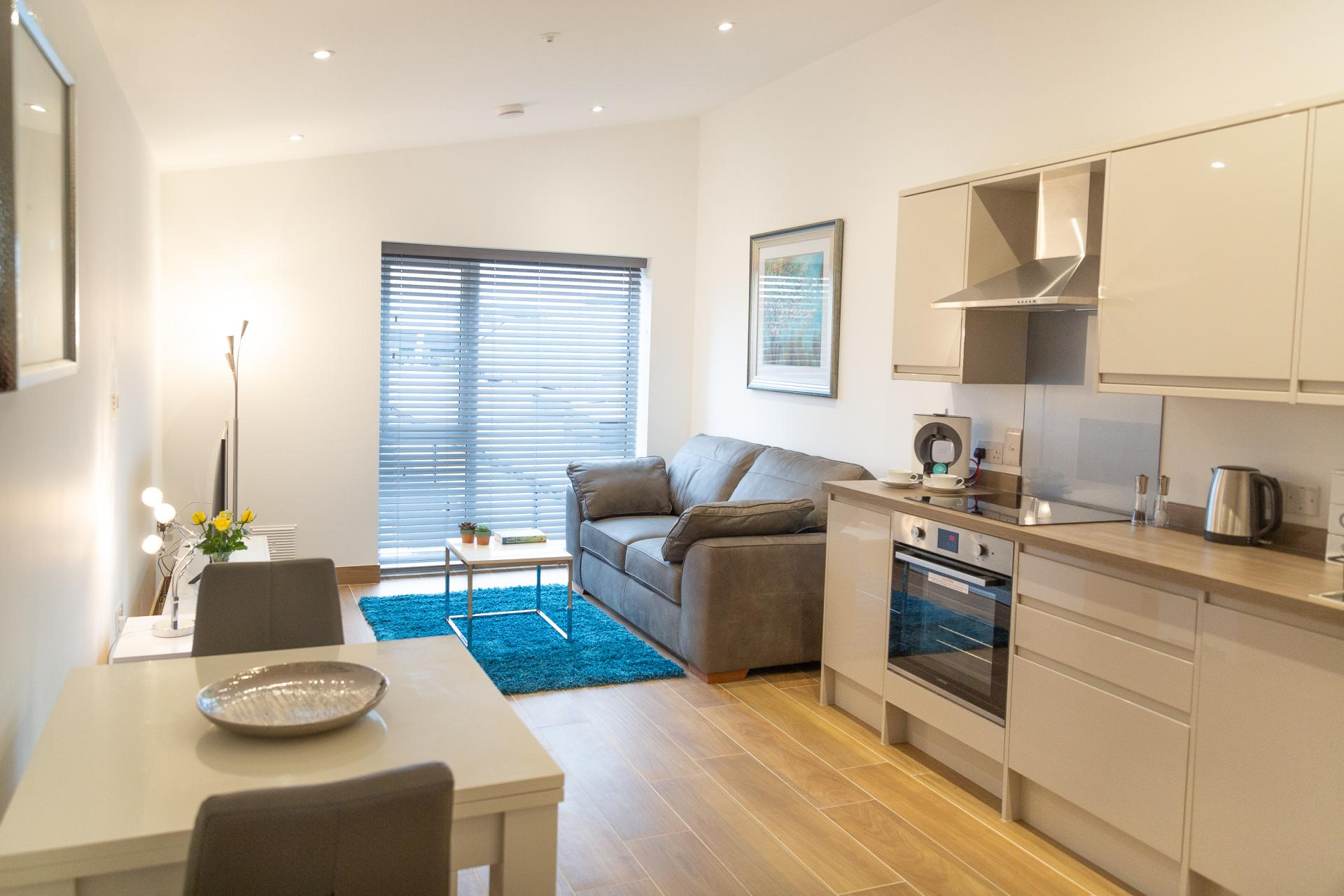 Open plan kitchen at Franklin House Apartments, King's Hedges, Cambridge - Citybase Apartments