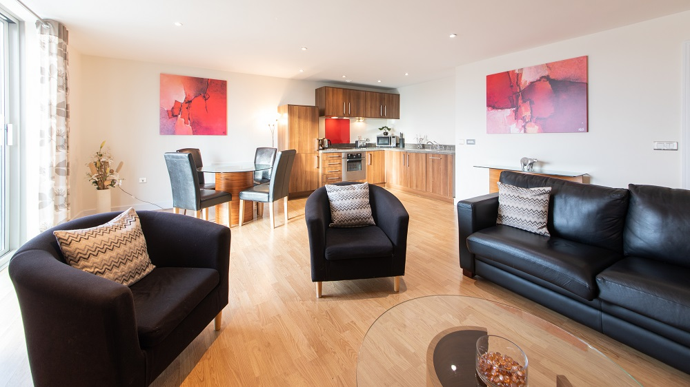 Living room The Spires Birmingham - Citybase Apartments