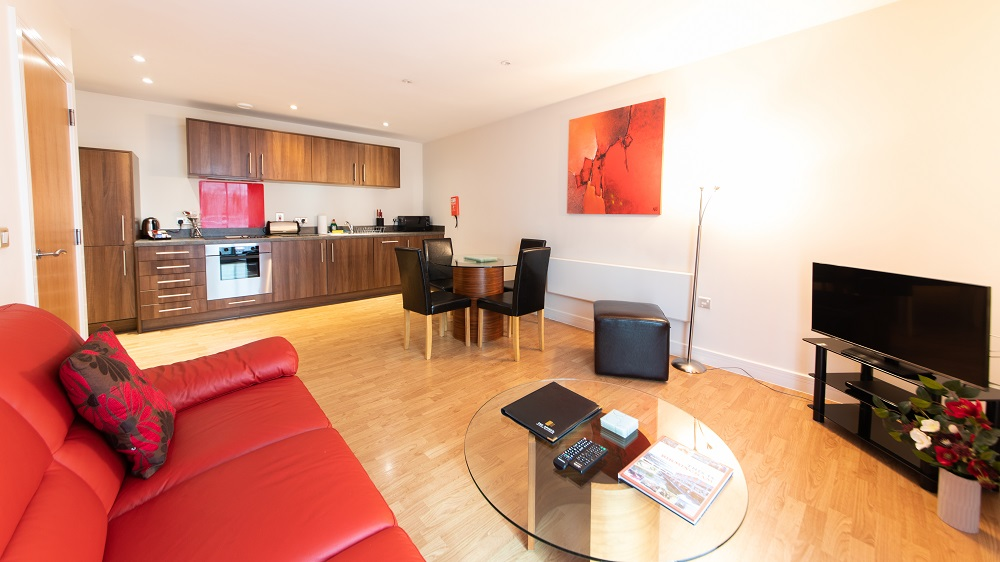 Spacious living area at The Spires Birmingham - Citybase Apartments