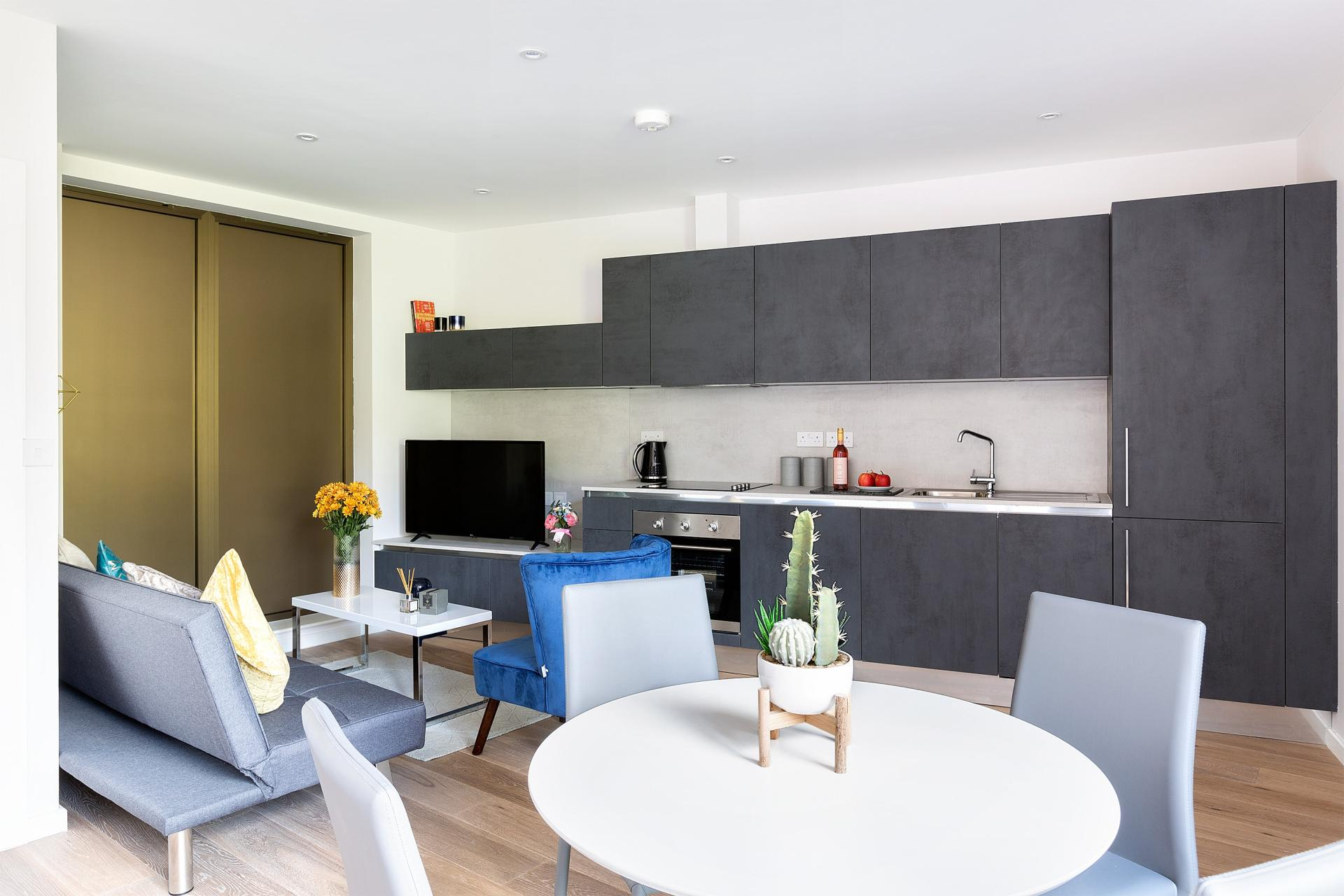 Open-plan kitchen at Heart of Camden Apartments - Citybase Apartments