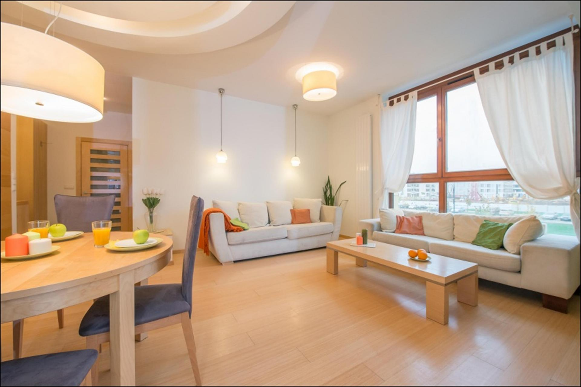 Living area at Wilanow 6 Apartments, Wilanów, Warsaw - Citybase Apartments