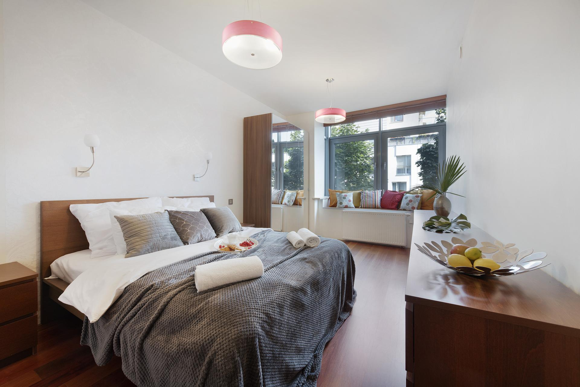 Double bed at Wilanow 6 Apartments, Wilanów, Warsaw - Citybase Apartments