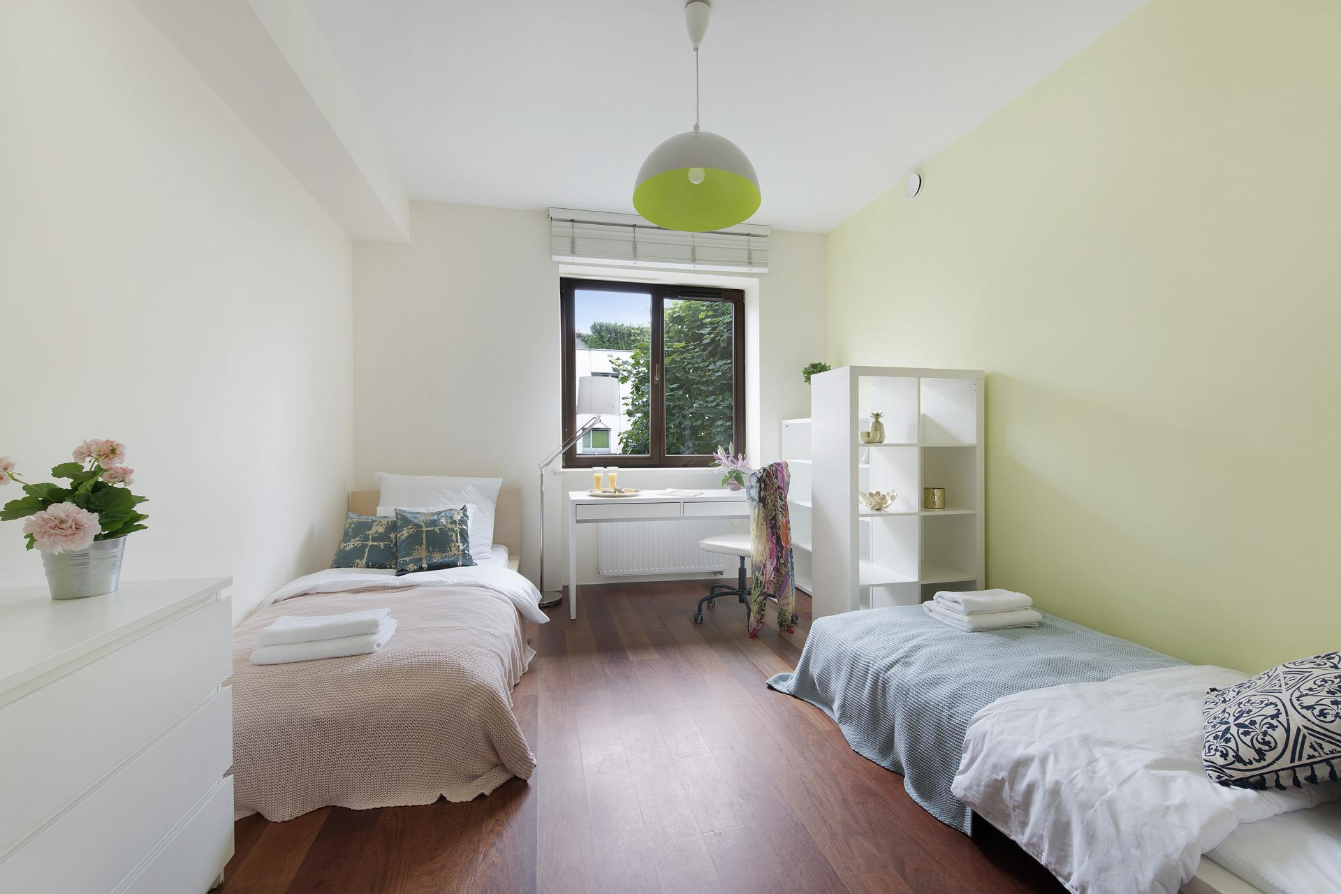 Twin beds at Wilanow 6 Apartments, Wilanów, Warsaw - Citybase Apartments