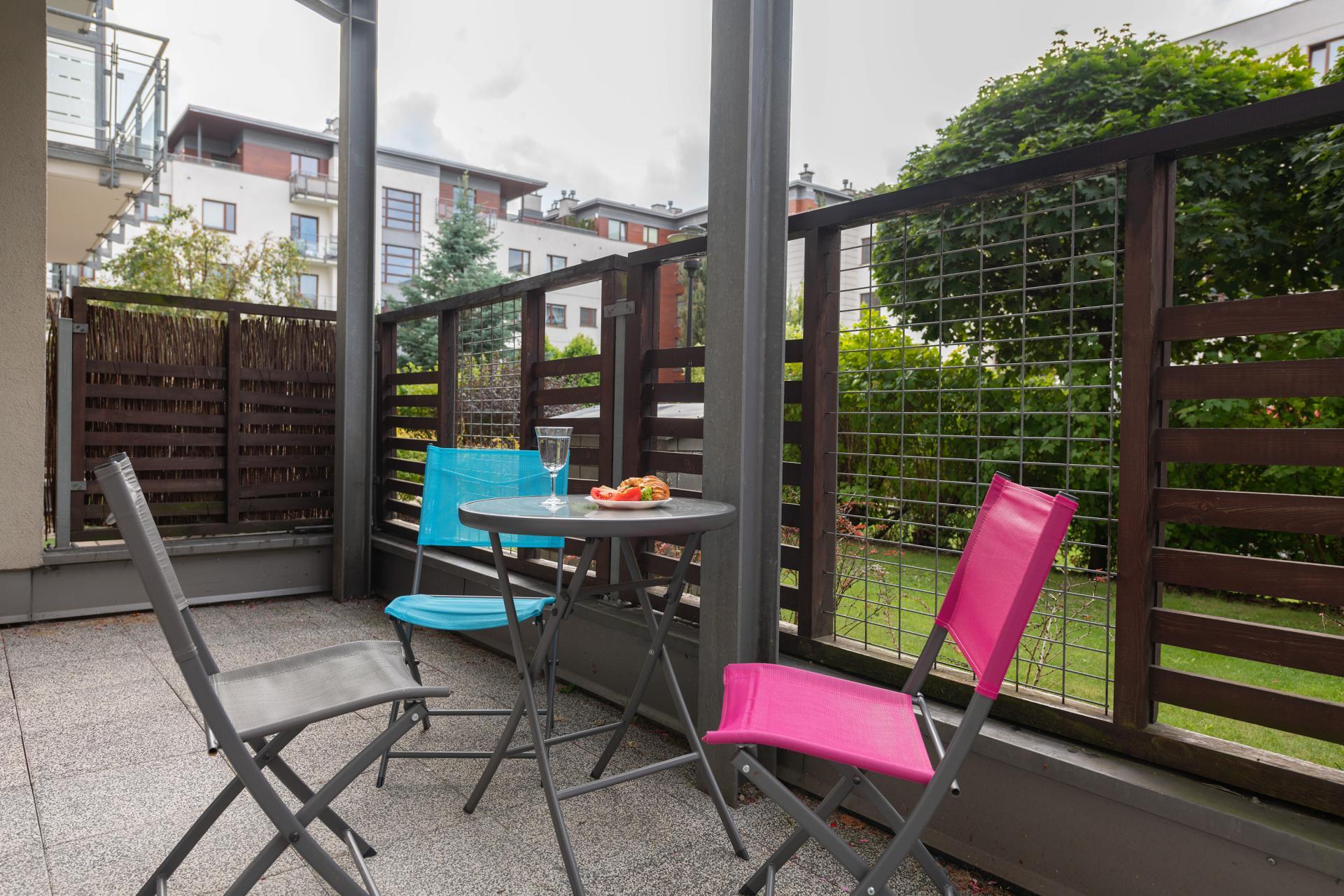 Garden furniture at Wilanow 6 Apartments, Wilanów, Warsaw - Citybase Apartments