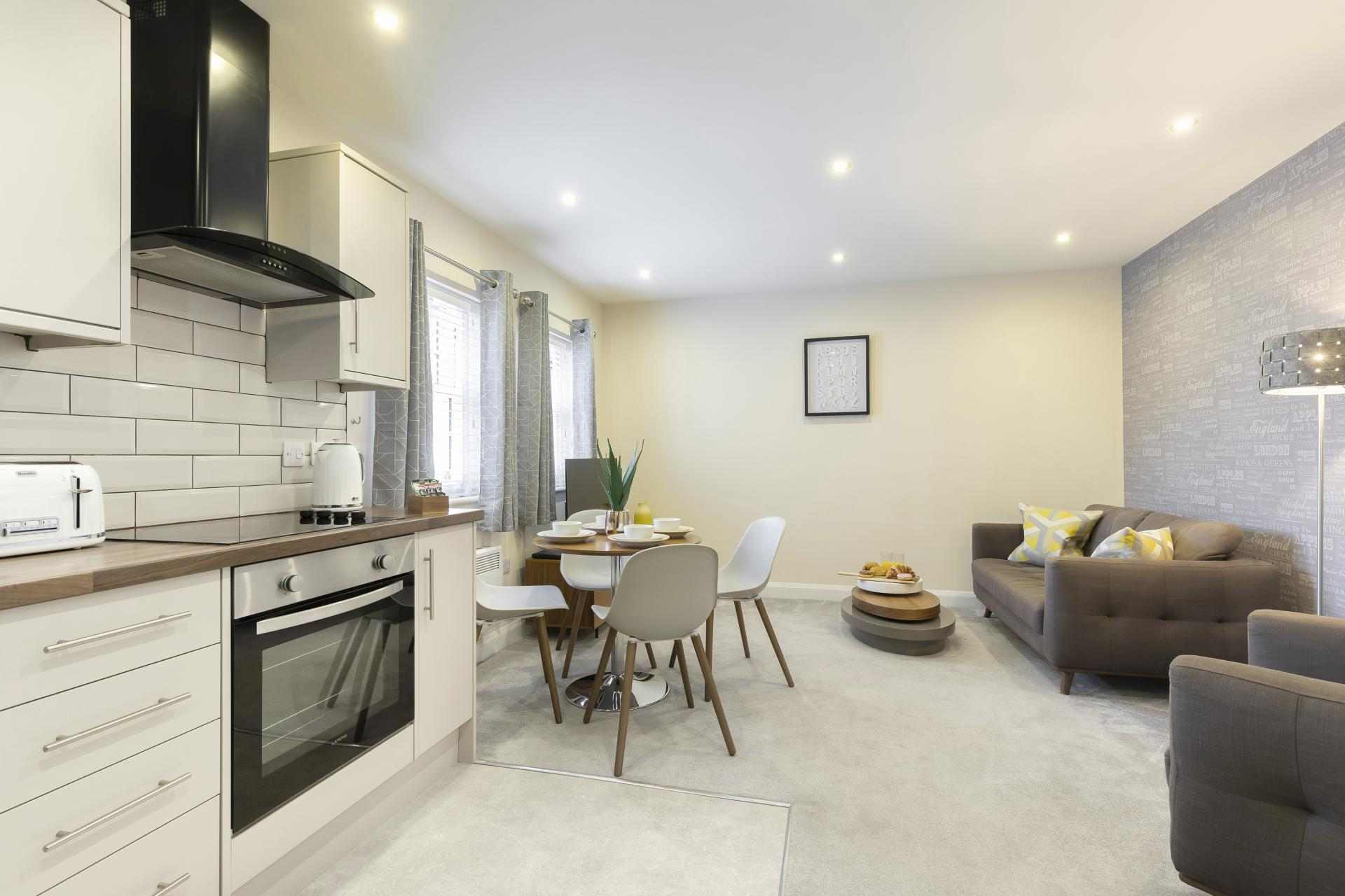 Open plan living at Apartment 4 Murray House - Citybase Apartments