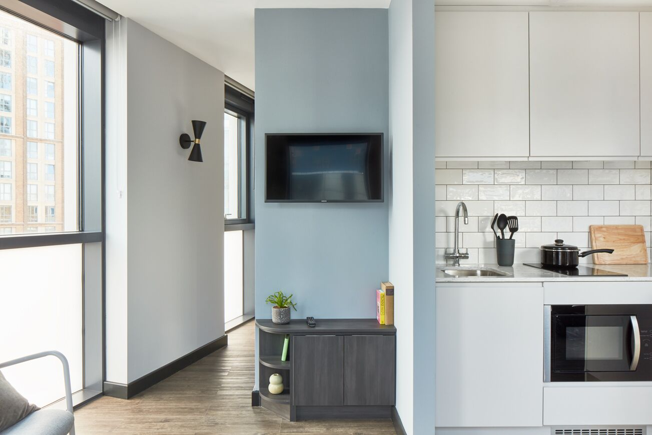 Kitchen at Crossharbour Plaza Apartments, Isle of Dogs, London - Citybase Apartments