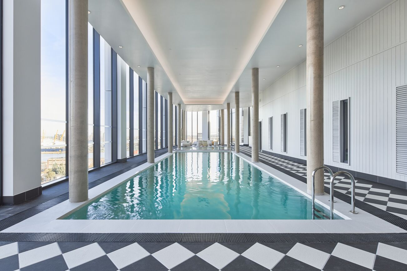 Swimming Pool at Crossharbour Plaza Apartments, Isle of Dogs, London - Citybase Apartments