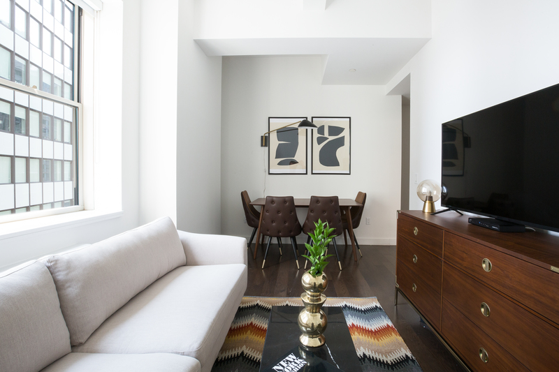 Open-plan living area at 116 John Street Corporate Housing - Citybase Apartments