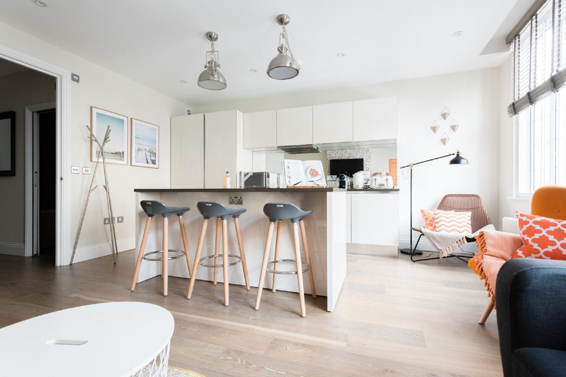 Fully equipped kitchen at The Oxford Street Studio, Paddington, London - Citybase Apartments