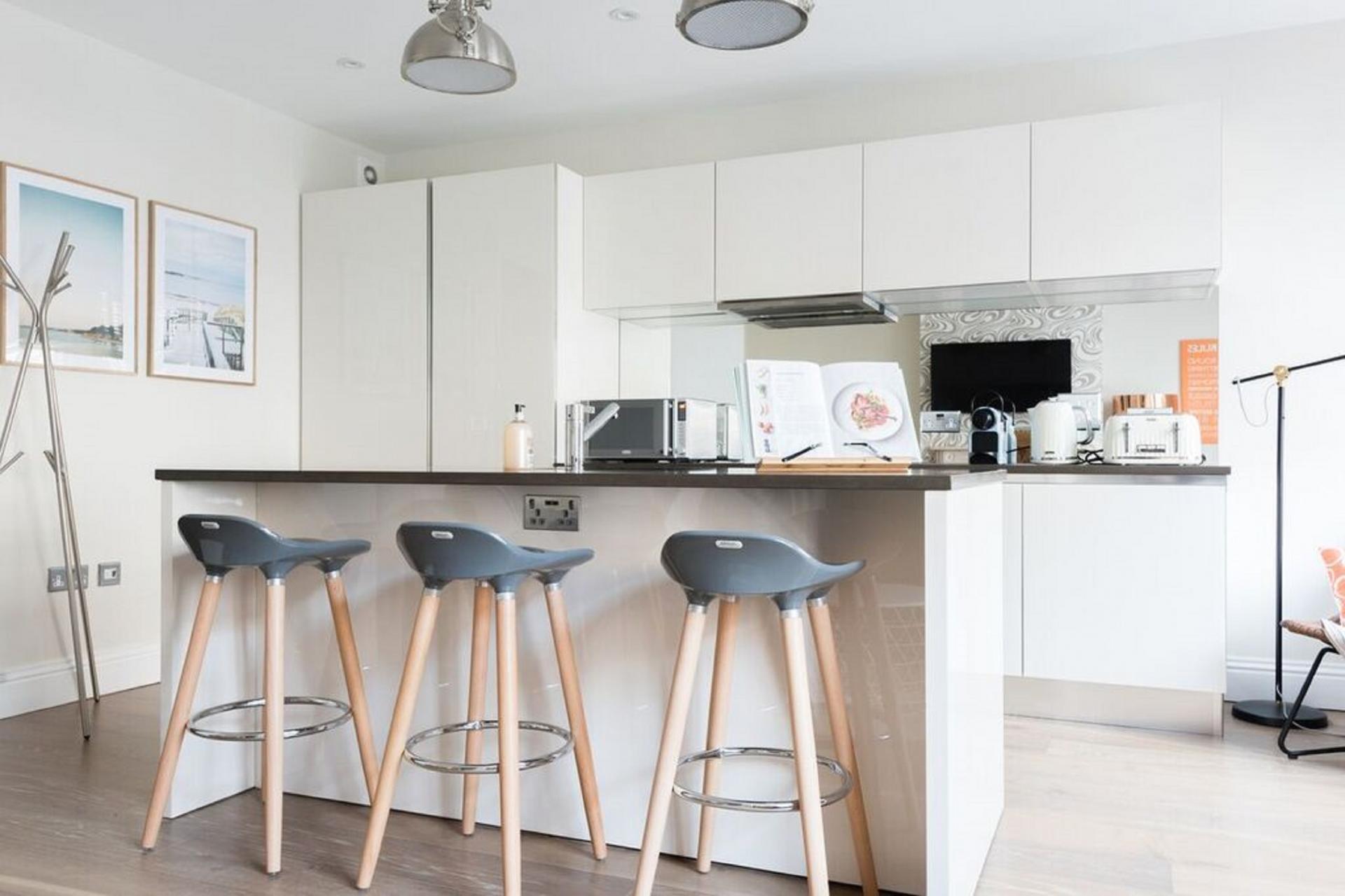 Sleek kitchen at The Oxford Street Studio, Paddington, London - Citybase Apartments