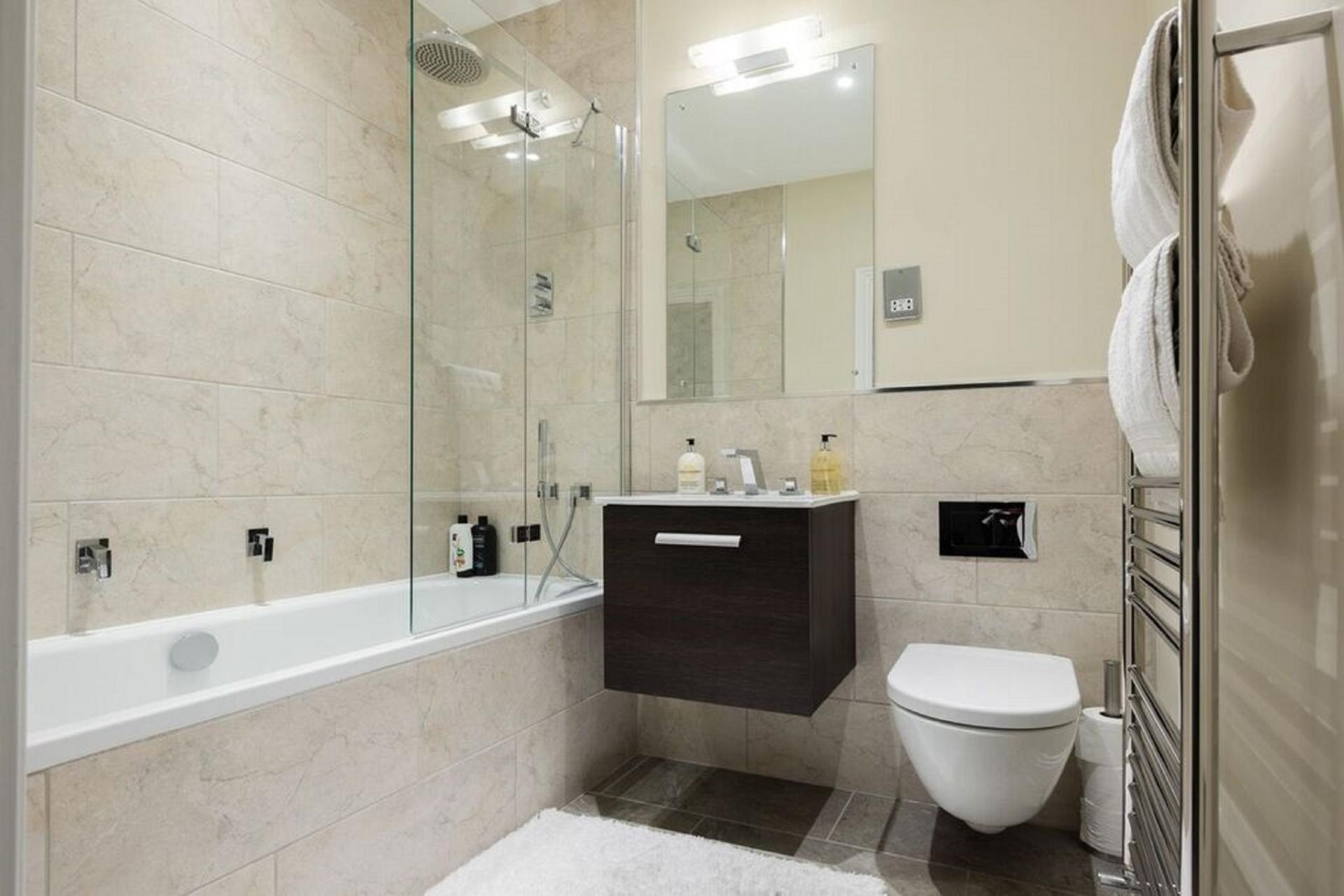Bathroom at The Soho Studio Apartment, Paddington, London - Citybase Apartments