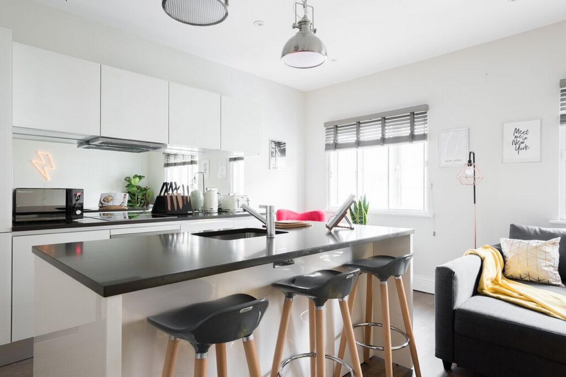 Modern kitchen at The Soho Studio Apartment, Paddington, London - Citybase Apartments