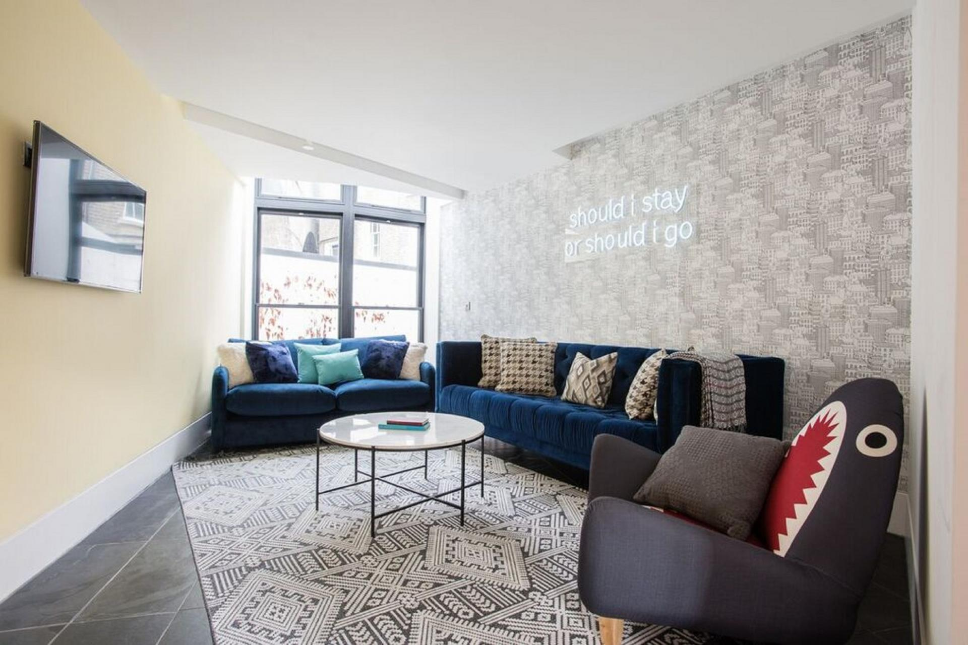 Living room at The Camden Chalet, Camden, London - Citybase Apartments