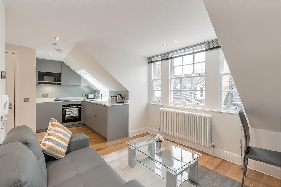 Open-plan living area at Thistle Street Edinburgh Apartments - Citybase Apartments