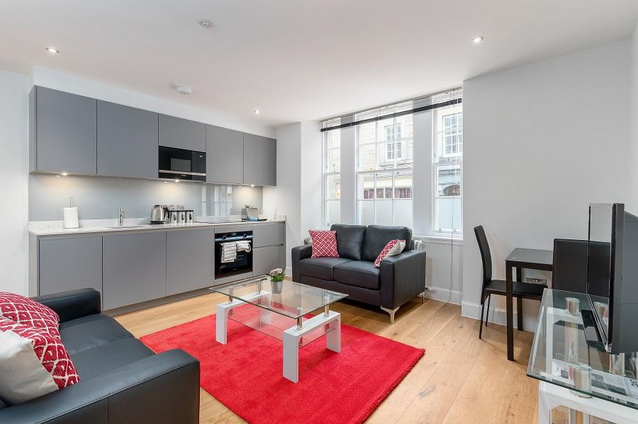 Living area at Thistle Street Edinburgh Apartments - Citybase Apartments