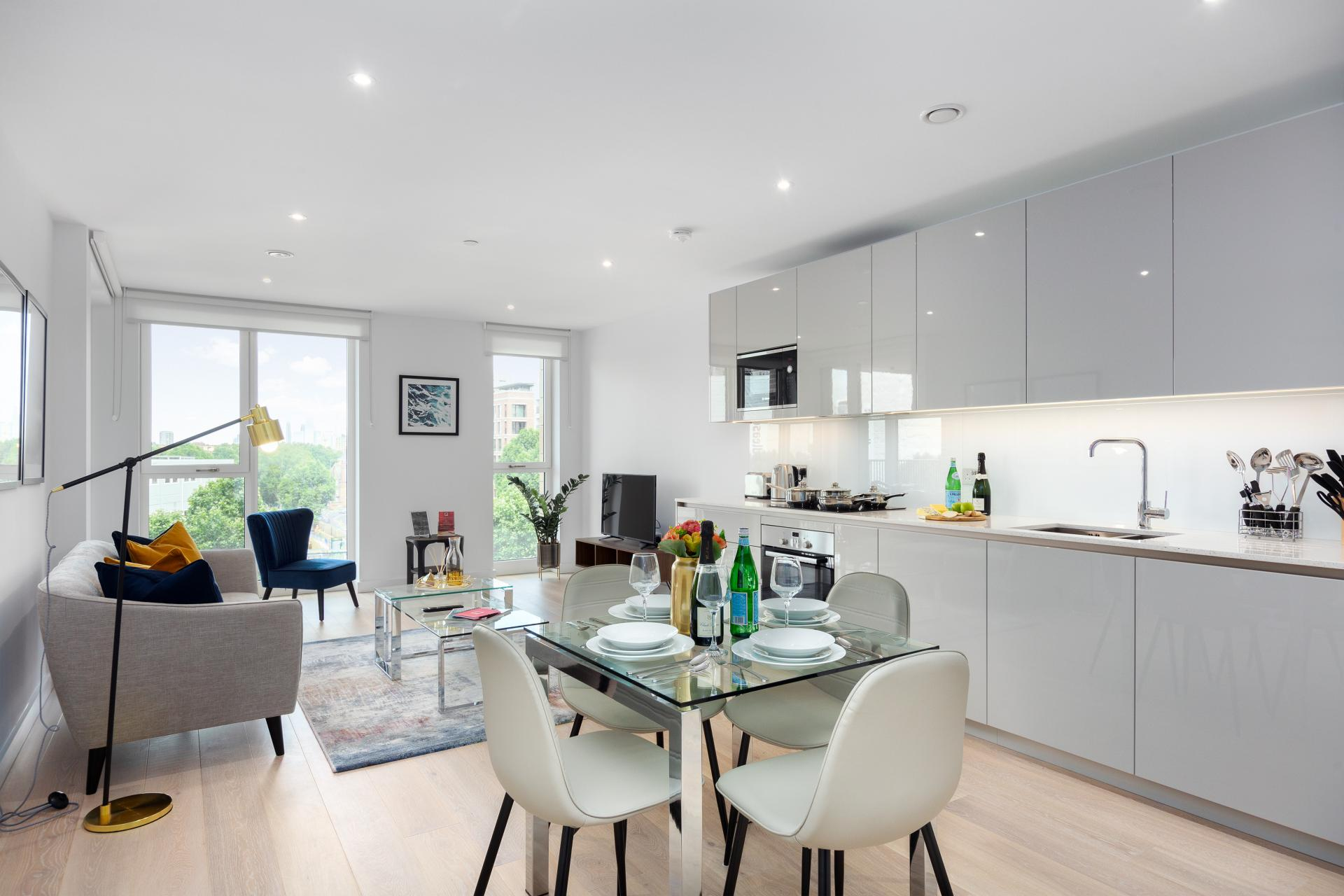 Open-plan living area at Elephant & Castle Serviced Apartments - Citybase Apartments
