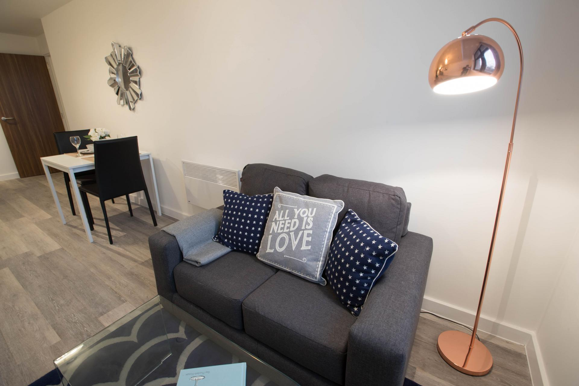 Living room at Parker Street Apartments - Citybase Apartments