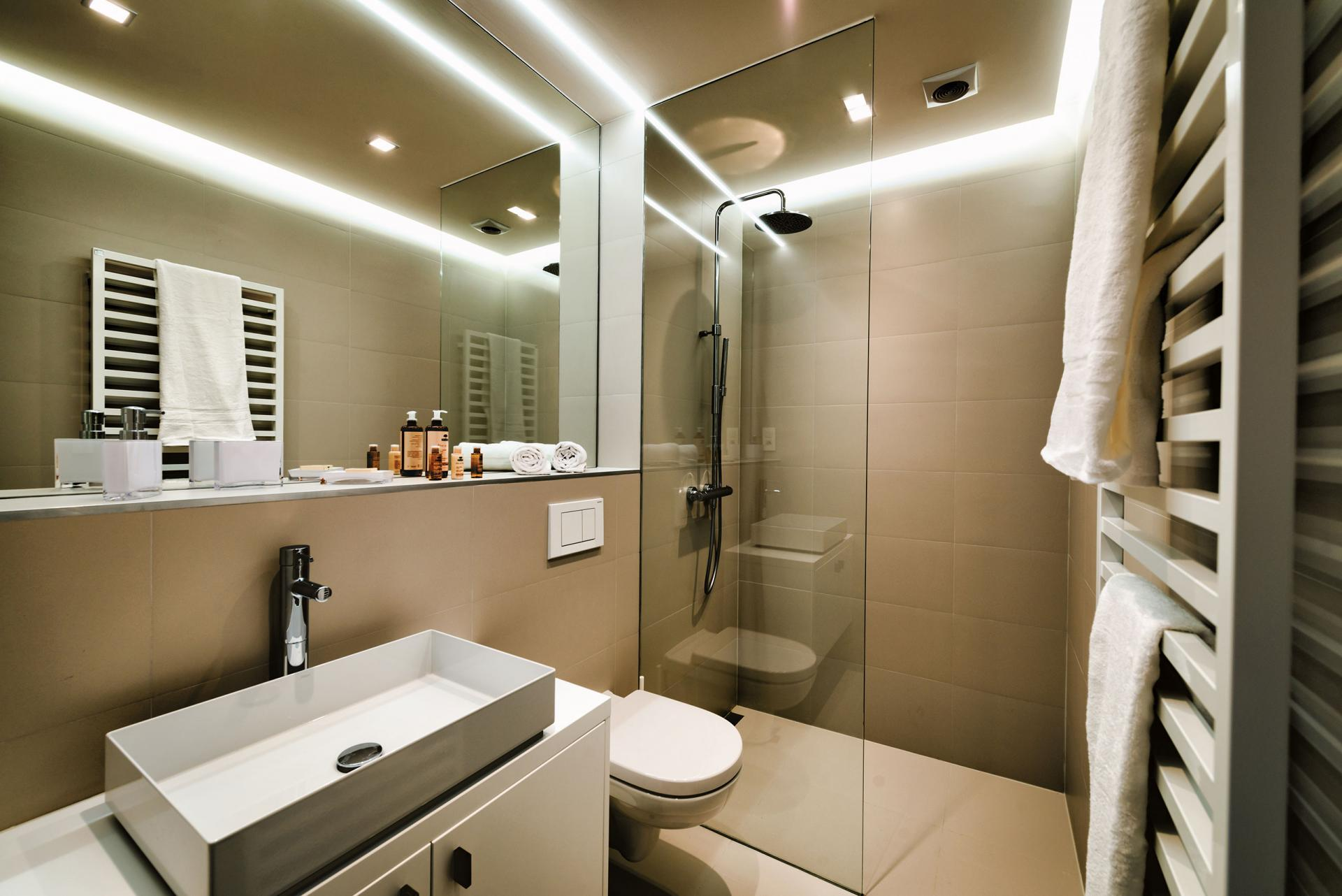 Bathroom sink at Amazone Charles Apartments - Citybase Apartments