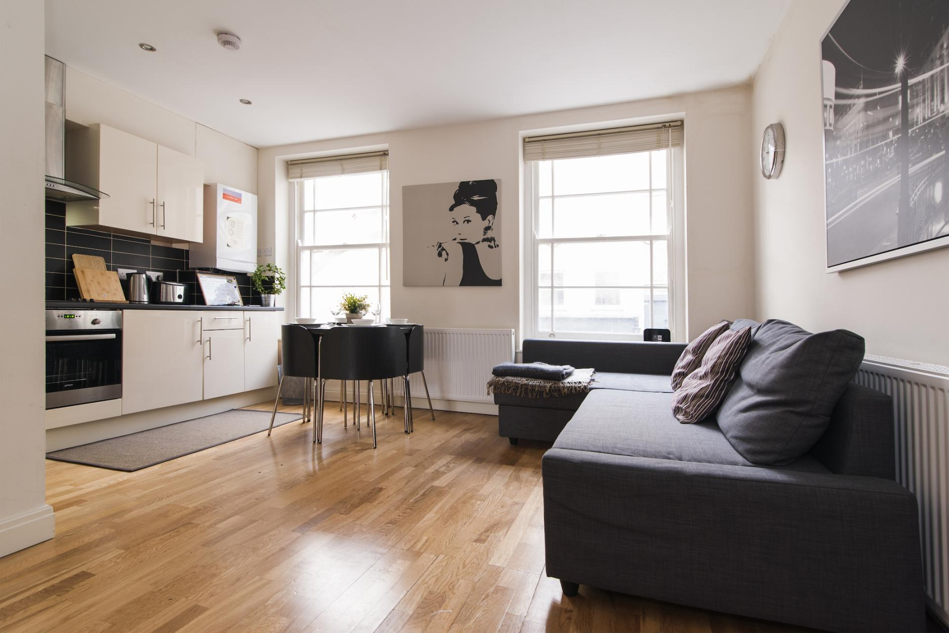 Open-plan living area at Angel Serviced Apartments - Citybase Apartments