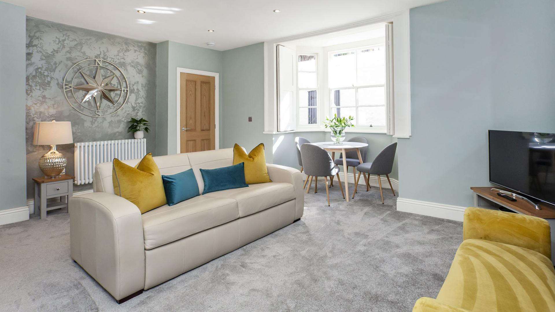 Stylish open-plan living area at Bootham Luxury Apartments - Citybase Apartments