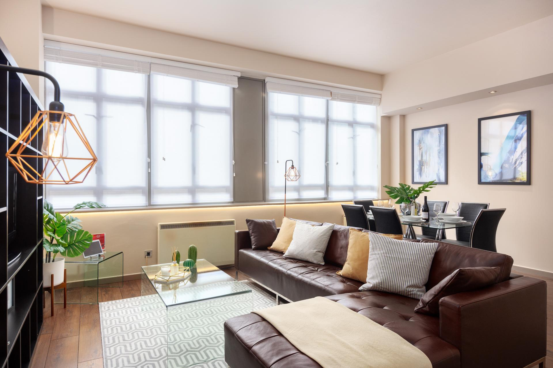 Living Area at Lawrence House Serviced Apartments, Old Street, London - Citybase Apartments