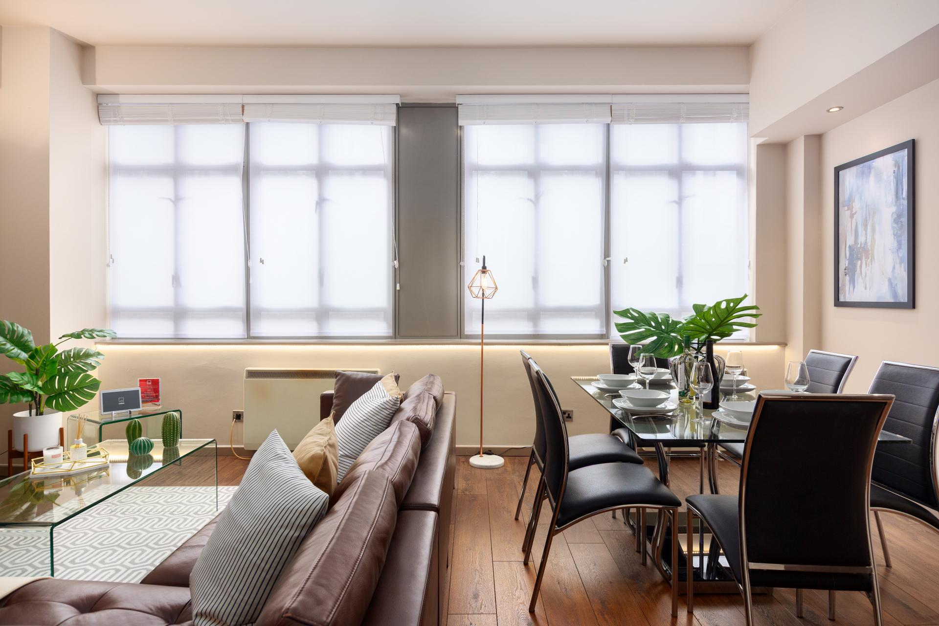 Dining area at Lawrence House Serviced Apartments, Old Street, London - Citybase Apartments
