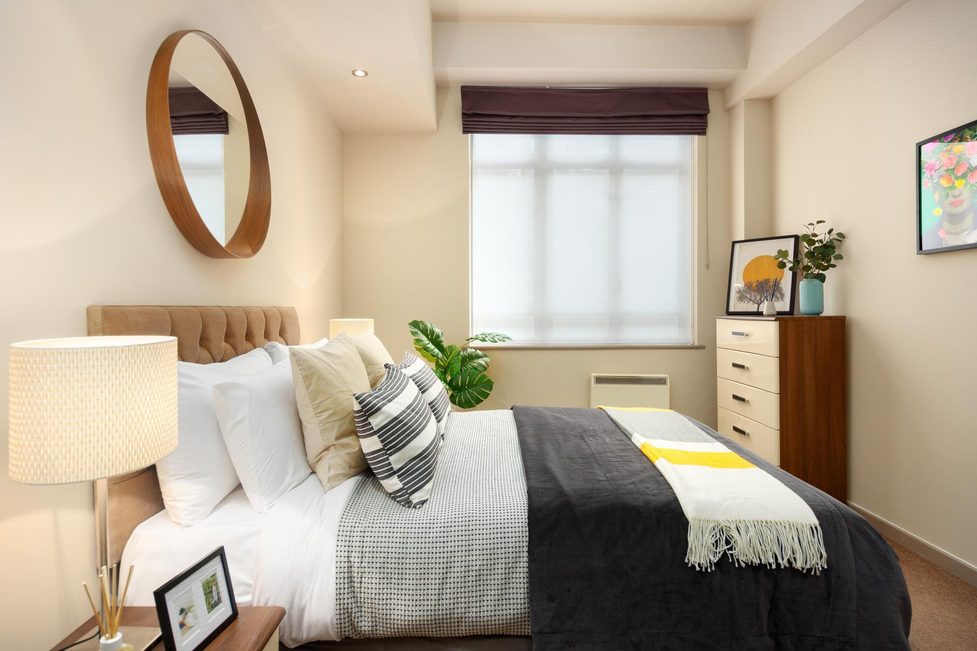 Comfy bed at Lawrence House Serviced Apartments, Old Street, London - Citybase Apartments