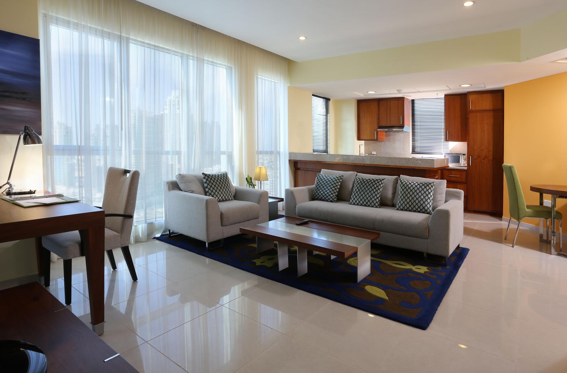 Airy lounge at Ramada Downtown Dubai Apartments - Citybase Apartments