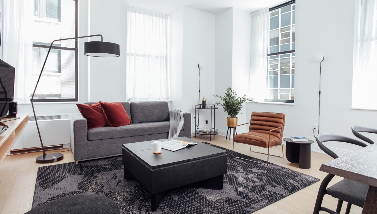 Living area at 70 Pine Street Apartments - Citybase Apartments