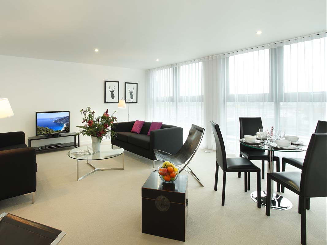Spacious living area at SACO Waterloo - York Road - Citybase Apartments