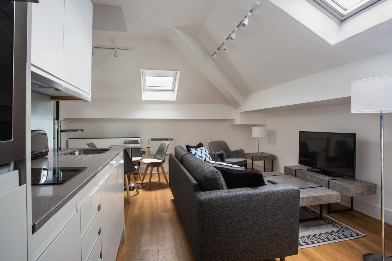 Living area at The Atria, Salt Hill, Slough - Citybase Apartments