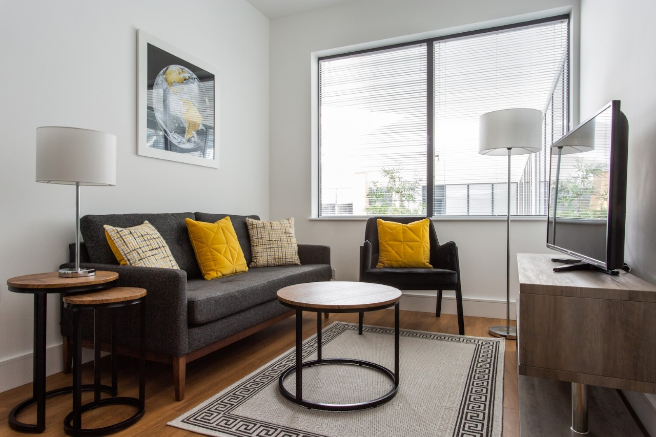Bright living area at The Atria, Salt Hill, Slough - Citybase Apartments