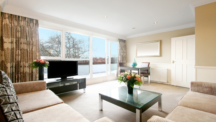 Modern living area at at Collingham Serviced Apartments - Citybase Apartments
