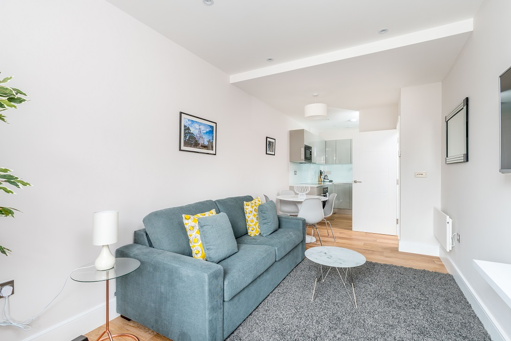 Living room at Finchley Road Apartments - Citybase Apartments