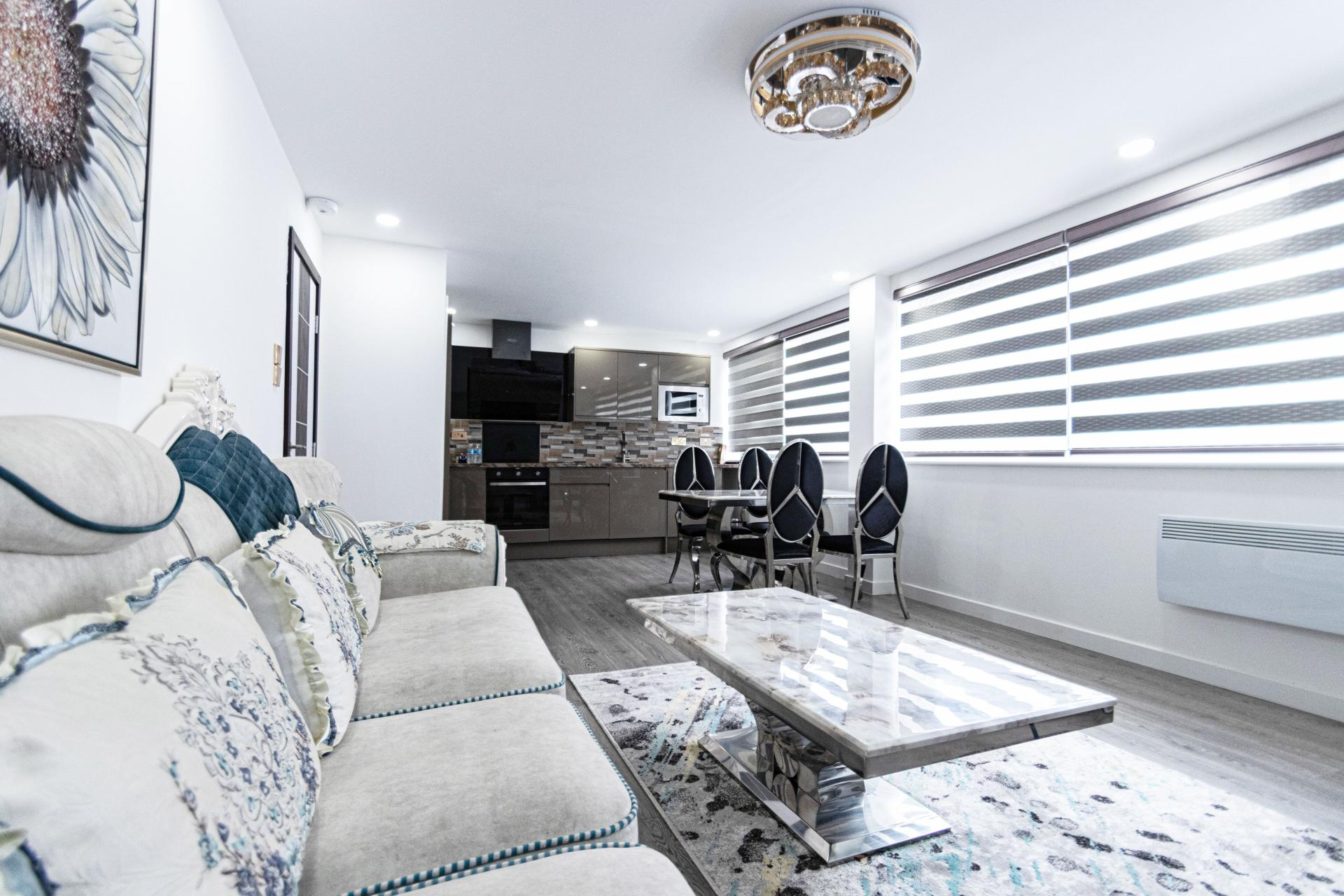 Open plan space at Queen Stay Apartments - Citybase Apartments