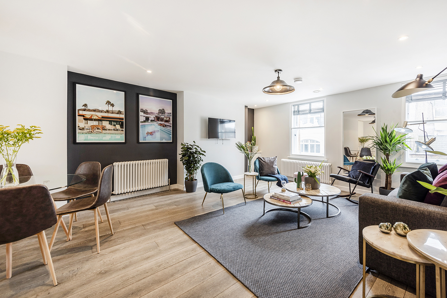 Living area at BE: Wardour Street Apartments - Citybase Apartments
