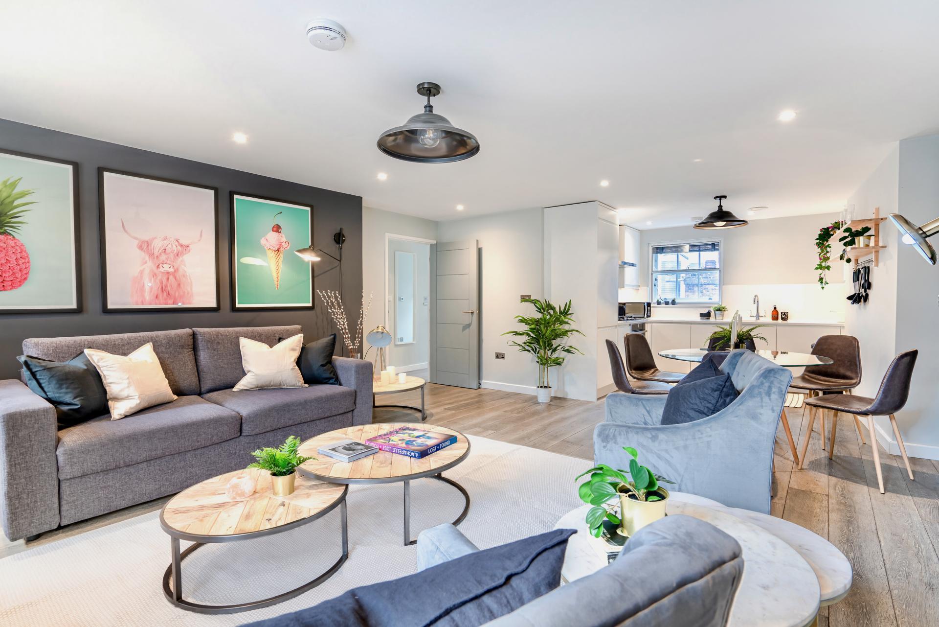 Living area at BE: Wardour Street Apartments, Soho, London - Citybase Apartments