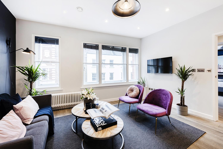 Cosy seating at BE: Wardour Street Apartments, Soho, London - Citybase Apartments
