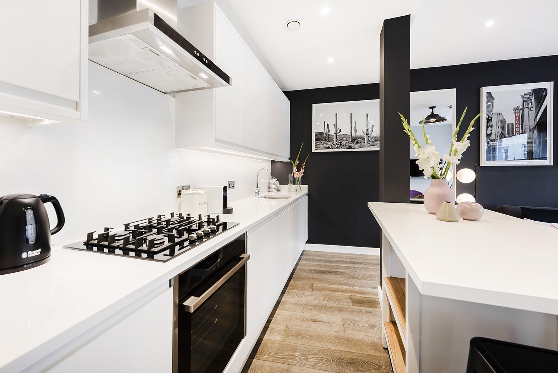 Modern kitchen at BE: Wardour Street Apartments, Soho, London - Citybase Apartments
