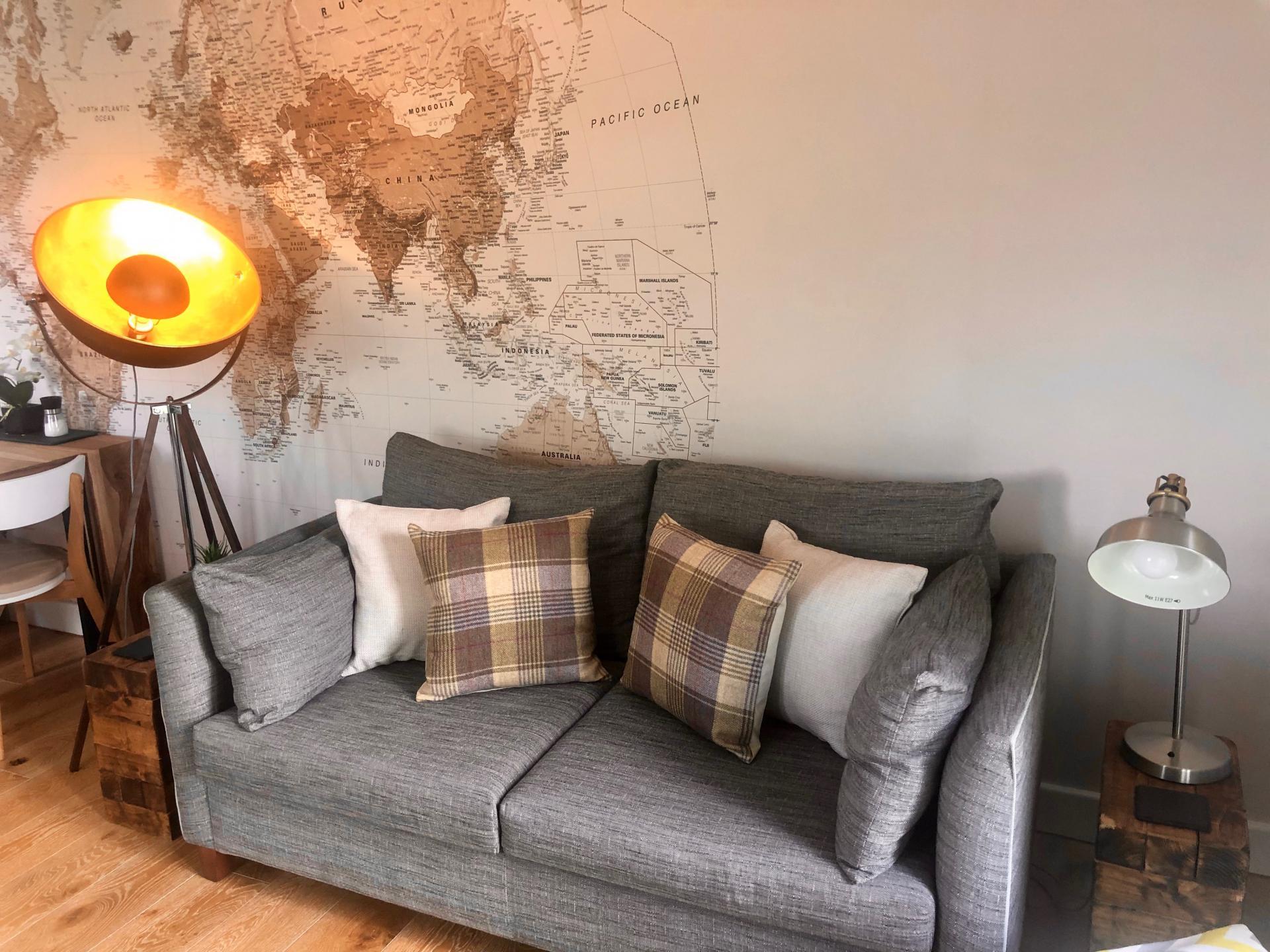 Sofa at Newmarket Road apartment - Citybase Apartments