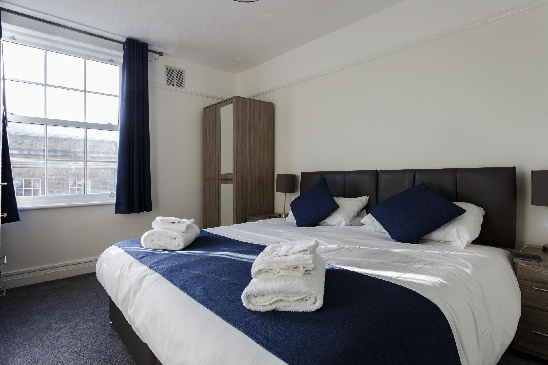 Bright bedroom at Braganza House Apartments, Old Portsmouth, Portsmouth - Citybase Apartments