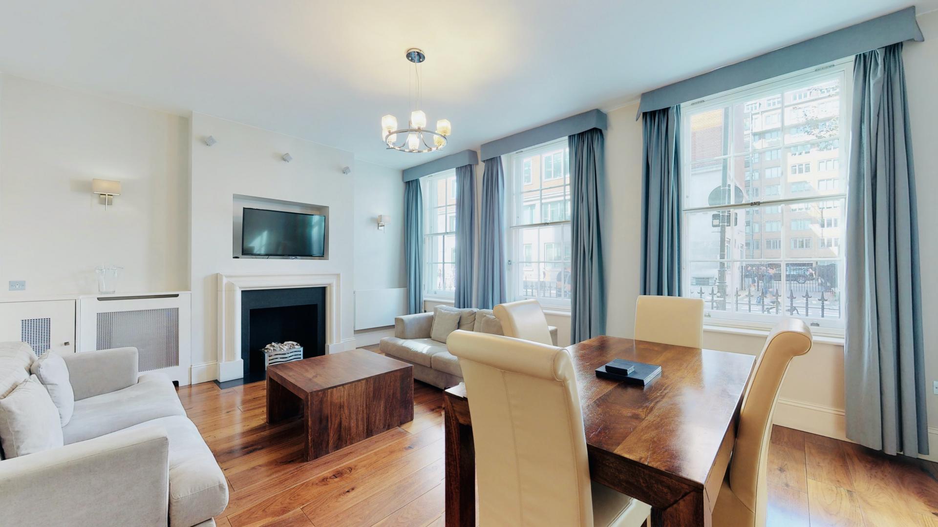Dining area at Tavistock Place Apartments, Fitzrovia, London - Citybase Apartments