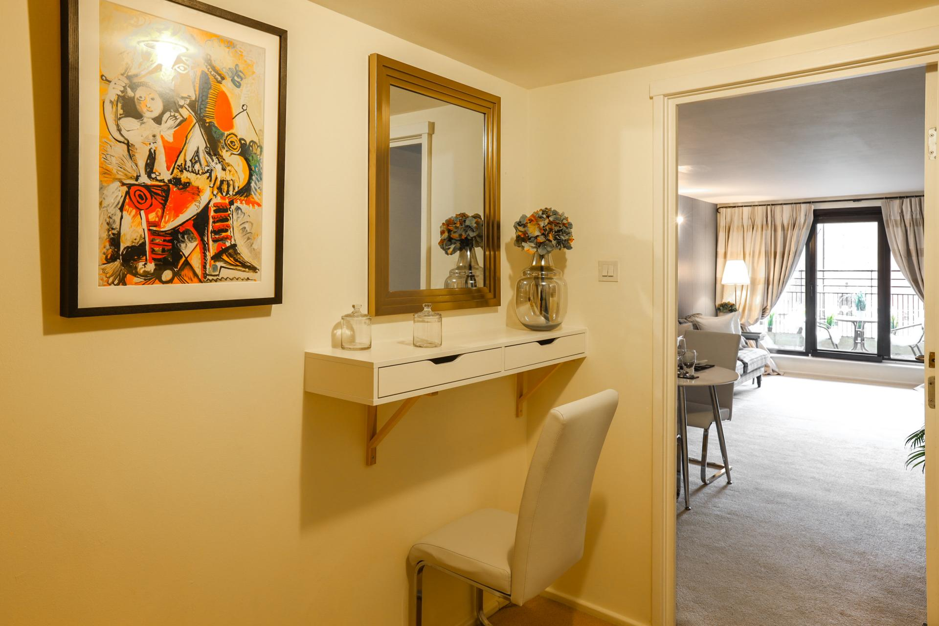 Dressing table at 116 Point West Apartments, South Kensington, London - Citybase Apartments