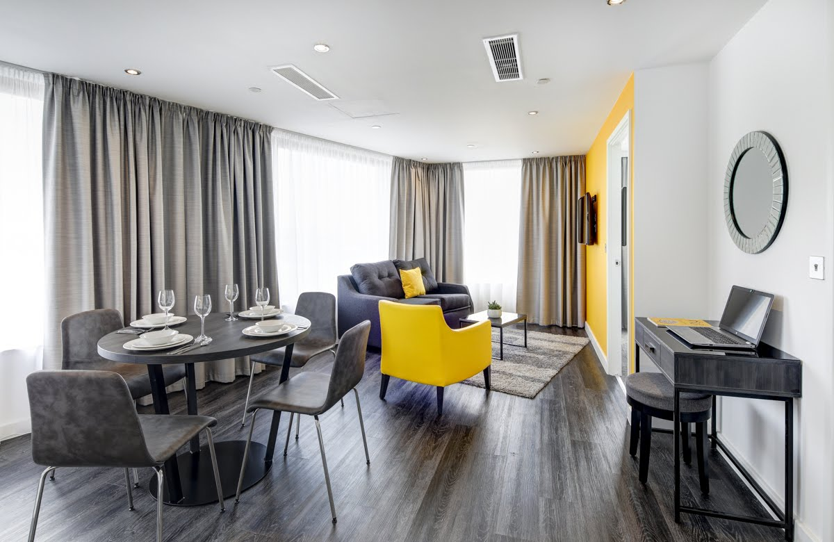 Living space at ExCel Dockside Apartments, Royal Docks, London - Citybase Apartments