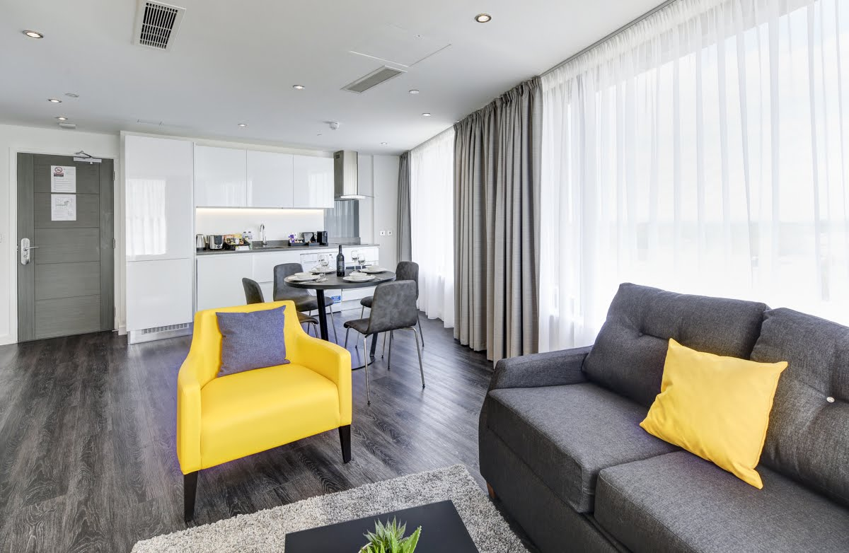 Sofas at ExCel Dockside Apartments, Royal Docks, London - Citybase Apartments