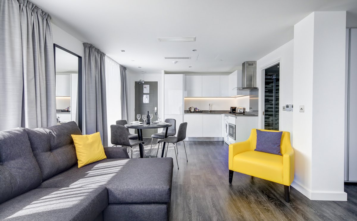 Yellow and grey decor at ExCel Dockside Apartments, Royal Docks, London - Citybase Apartments